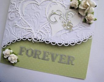 Wedding Card - Embellished Card - Handmade - Dimensional
