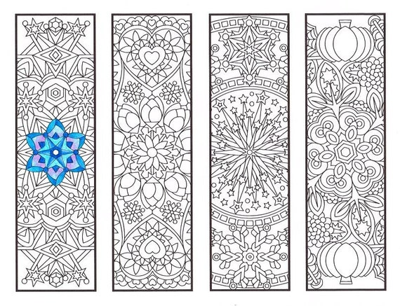 coloring bookmarks cool weather mandalas coloring page for adults kids and bookworms four printable bookmarks to color - Cool Patterns To Colour In