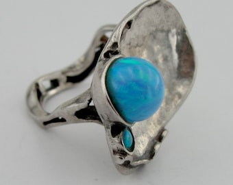 Hadar Jewelry Handcrafted Israel Art Sterling Silver Opal Ring size 7  , can change size required (147