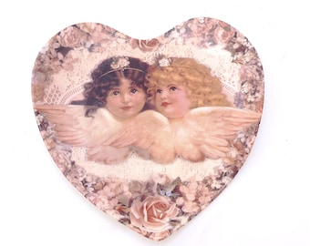 "Heart Plate Shaped Plate, Limited Edition, No 40 Cherubs Collection, ""Sweetness and Grace"" by Thomas L Cathey, Valentine's Day, Gift Idea"