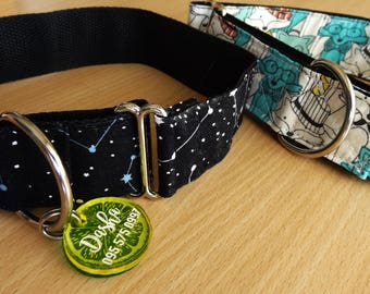 "1.5"" martingale or regular adjustable dog collar, various designs & sizes"