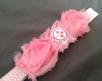 Pittsburg Steeles Pink Shabby Chic Flowers on Chevron Print Headband