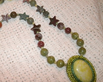 Green Serpentine with Peridot Jasper, Agate and Quartz Hand Bead Embroidered Necklace