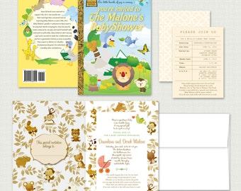 Leighton Custom Little Golden Book Story Book Baby Shower Invitation
