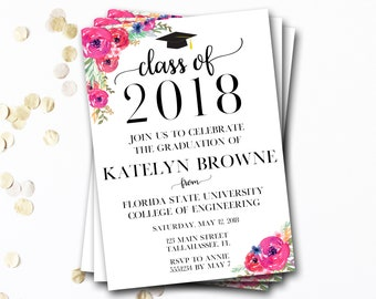 Graduation Invitation, Floral Graduation Invitation, Class of 2018, Flower Graduation Invitation, Graduation Announcement, DIY Printable