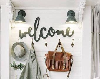 Painted Welcome Word Wood Cut Wall Art Sign Decor