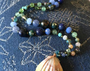 Beaded Sunrise Shell Necklace // Deep Blues and MoonRise
