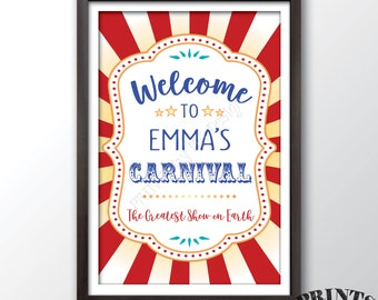 """Carnival Welcome Sign, Welcome to the Carnival Theme Party Sign, Greatest Show on Earth Circus Theme Party, PRINTABLE 24x36"""" Carnival Sign"""