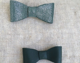 Glitter and teal Emerald Green bow brooches duo