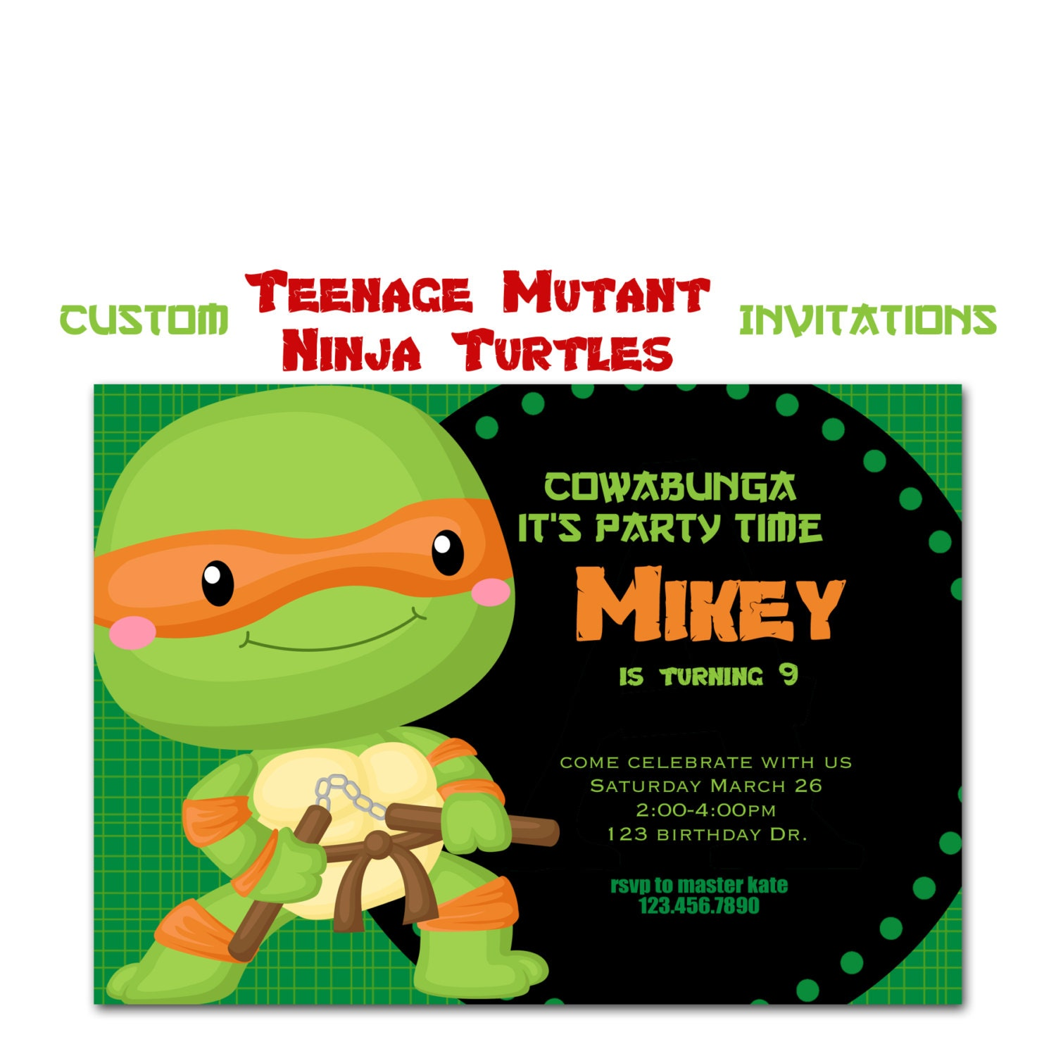 Teenage Mutant Ninja Turtle Invitiation Custom Turtle