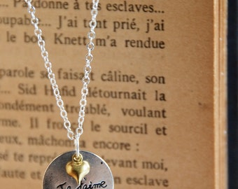 Je taime necklace,I love you necklace,graduation gift,mother's  Day gift,love pendant,heart charm necklace,silver necklace,circle  necklace