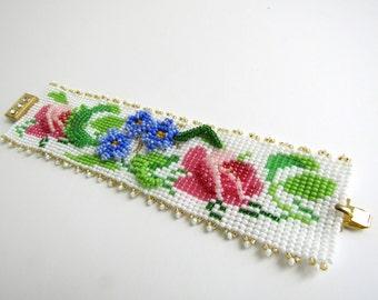 3D bracelet, beaded bracelet, ethnic jewelry, Ukrainian style, amullet