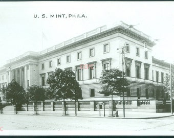 United States Mint Building Philadelphia Pennsylvania Real Photo Postcard