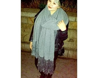 XXXL / Big Ass Scarf ||Oversized Hand Knit Scarf with Fringe, knit scarf, lenny kravitz, fashion, winter fashion, oversized knit, handmade||