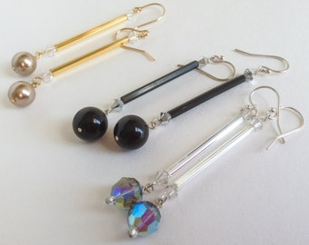S Silver Goldfill French Hooks Long Dangle Black Beige Blue Swarovski Pearls and Crystals Statement Earrings--Athena--by Lady Grey Beads
