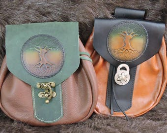 In Stock XLarge Economy Sporran Design Leather Belt Bag / Pouch Medieval, Bushcraft, Costume, Ren Faire, Tree of Life