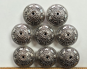 17x9mm rondelle, circles dotted floral motif, bali sterling silver beads, one piece, (SSB-4)