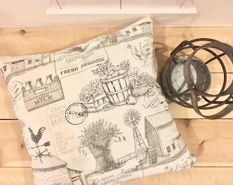 Country cottage pillow, farmhouse pillow, farm print pillow cover