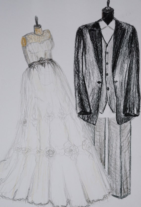 Custom wedding dress and tuxedo drawing bride and groom