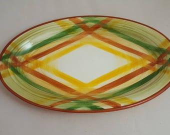 "Vernon Kilns Homespun 10"" Platter Plaid"