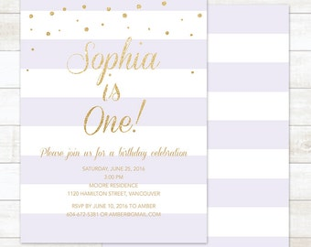 purple gold first birthday invitation, 1st birthday party invite, gold glitter confetti 1st birthday invitation, printable digital