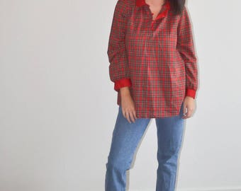 Vintage Red Plaid Blouse