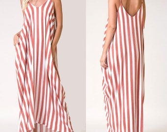 Lulu Stripe Hareem Maxi Dress / Summer Dress / Summer Beach Dress / Maxi Dress
