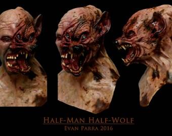 Half-Man Half-Wolf Professional Latex Mask