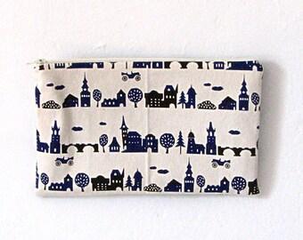 White Navy Canvas Village Print Zipper Bag / Pouch / Clutch / Cosmetic Bag
