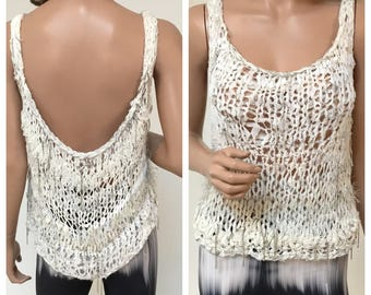 Josè Arellanes-Handmade,One of a Kind, Loose stitched crochet w/ chains top.SM