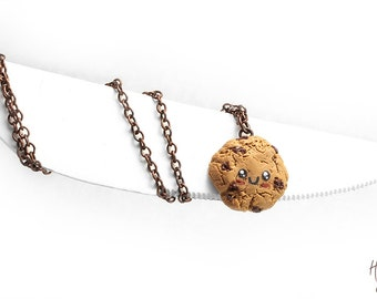 Kawaii Cookie Necklace, Choc Chip Cookie Pendant, Biscuit Necklace, Miniature Food Jewelry, Foodie Gift, Kawaii Necklace,Food Jewelry