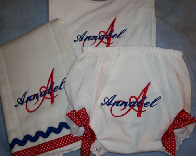 Fourth of July - New Baby girl Bloomers - Shower personalized gift, personalized diaper cover, monogram bloomer, baby girl gift, July 4th