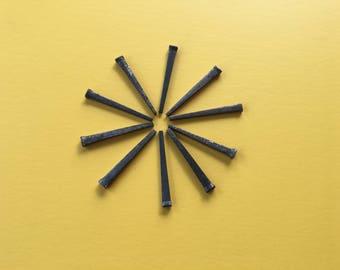 """Vintage Horseshoe Nail, Set of 10, Square Nail, 2.5"""" nail,  Industrial Salvage, DIY, Rusty Nail, Restoration Supply"""