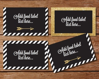 Black and Gold Tent Cards, Food Labels, Buffet Cards, Food Tags, Labels - Graduation Tent Cards - Instantly Downloadable File