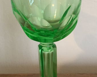 A splendid uranium green glass goblet from the 1930's.