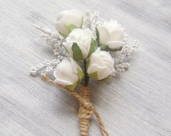 Mens wedding boutonnieres Groom prom boutonniere Rustic white rose flower floral lapel pin Groomsmen buttonhole Custom men Greenery wedding