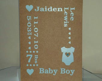 Birth Details Card, New Baby, Handmade New Baby Card, Personlised New Baby Card