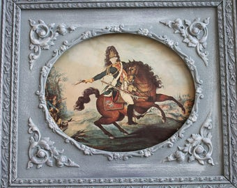 Old illustration, reproduction antique military print, large format, watercolor P.Duflos Dragon Regiment Colonel General 1785