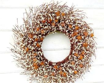 Primitive Fall Wreath-Rusty Tin STAR Wreath-Rustic Star Door Wreath-White Berry Wreath-RUSTIC TWIG Wreath-Rustic Home Decor-Holiday Gifts