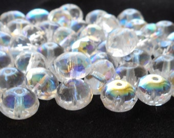 25 6 x 9mm Crystal AB faceted puffy rondelle beads, Czech glass rondelles C3825