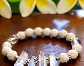 Aroma Therapy Diffuser Bracelet White Lava Stone and Raw Quartz Crystals Points Stretch Style Raw Crystal Bracelet Aromatherapy Gifts