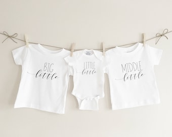 Big little middle little little little, sibling set sibling tees, pregnancy announcement, baby announcement, baby shower gift, matching tees