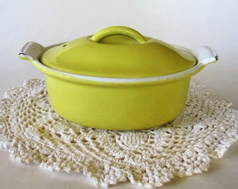 Descoware Small Yellow Pot Casserole FE Belgium 8 Oval Shape Holds 1- 1/2 Cups Mid Century