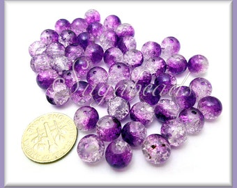 50 Purple Freeze Crackle Beads - Purple Crackle Glass Beads 8mm