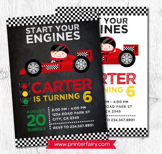 Racing invitation Race car invitations Racing car birthday