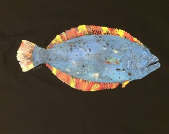 Original Gyotaku Fish Rubbing Flounder By Alex Dragoni