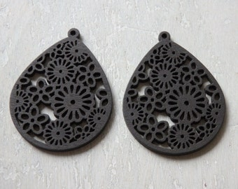 Wooden pendants etsy lightweight wooden pendants two laser cut filigree pendants black wood laser cut shapes for aloadofball Image collections
