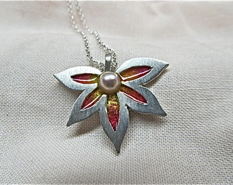 silver, handcut flower pendant with pearl