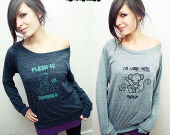 No More Tests Pwease - Slouchy Pullover Sweater Shirt -  Eco Vegan Veg - ReLove Planet -  M