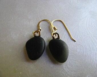 Genuine Sea Glass Earrings - Black Sea Glass - Dangle Earrings - Prince Edward Island Black Sea Glass - Ocean Jewelry Gifts of the Sea